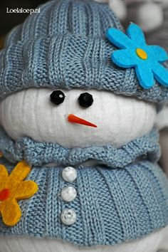Adorable Snowman from old Clothing and Rice.  A fun Christmas or winter craft. :-)