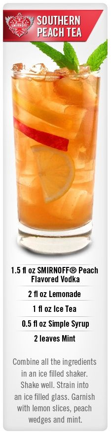 Southern Peach Tea drink idea with Smirnoff Peach flavored vodka. I am going to sub sweet tea vodka for the iced tea and simple syrup Peach Vodka Drinks, Cocktail Vodka, Non Alcoholic Drinks, Cocktail Recipes, Flavored Vodka Drinks, Party Drinks, Fun Drinks, Yummy Drinks, Mixed Drinks