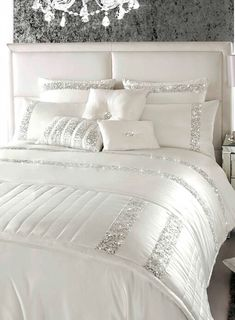 Kylie Minogue Safia Oyster Sequin Bedding - bedding sets - bedding sets - Bedding sets & sheets - Home, Lighting & Furniture- BHS Great glitzy bedding Glitter Bedroom, Glam Bedroom, Home Bedroom, Master Bedroom, Bedroom Ideas, Bedroom Furniture, Bedroom Designs, Sparkly Bedroom, Chanel Bedroom