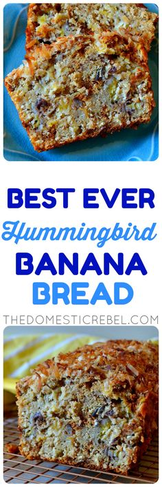 This Hummingbird Banana Bread is the BEST! Super moist and tender banana bread flavored like a hummingbird cake with pineapple, pecans and toasted coconut. So unique, delicious, easy and amazing! Best Banana Bread, Banana Bread Recipes, Loaf Recipes, Brunch, Hummingbird Cake, Bird Cakes, Pineapple Cake, Food Stamps, Moist Cakes