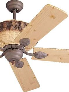 """Monte Carlo 52"""" Great Lodge 5GL52WI  Weathered Iron with Lodge Pine Blades    Monte Carlo 52"""" Great Lodge Rustic Ceiling Fan    The Great Lodge Collection Create a Rustic Retreat in any Room Breathe deep. Imagine the fragrance of fresh pine. The look of rough hewn pine logs and pine cone accents create a quiet retreat."""