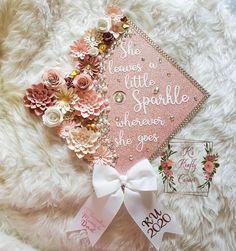 Rose gold graduation cap/ grad cap with rhinestones