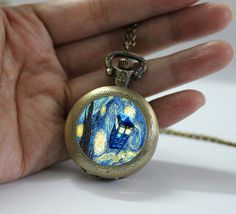 Starry Night Tardis NecklaceDoctor Who Police by pier6craft