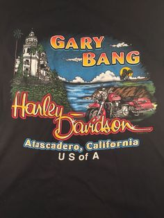Harley Davidson Men's Black Gary Bang Atascadero California T Shirt Size Large | eBay