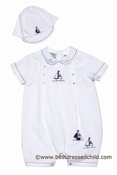 Sarah Louise Infant Boys White Romper with Navy / Red Sailboats & Hat
