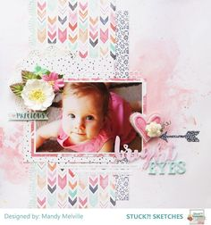 Bright Eyes | Stuck?! Sketches February 15th DT Layout | Cocoa Vanilla Studio Free Spirit collection | D-lish Scraps embellishments: