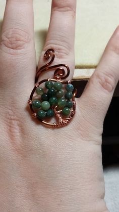 Tree of Life Ring, Adjustable. 16 Gauge Brown Copper Wire, 24 Gauge Copper Wire, Green Aventurine Beads