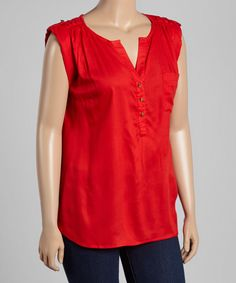 Loving this Millenium Clothing Poppy Red Button-Front Sleeveless Top - Plus on #zulily! #zulilyfinds