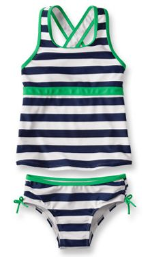 Girls' striped two-piece surfer suit on Cool Mom Picks