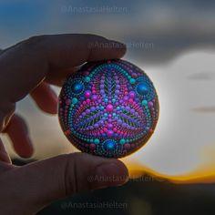Enjoying sunset ☺️ Have a great night/day ❤️ . . #mandalastones #mandala #paintedrocks #paintedstones #mandalarocks #mandalaart #sacredgeometry