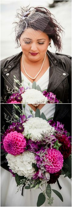 Offbeat bridal fashion, alternative wedding ideas, black leather jacket, hot pink dahlias, bridal bouquet, get more offbeat/alternative wedding ideas at borrowedandblue.com // @studio623photo