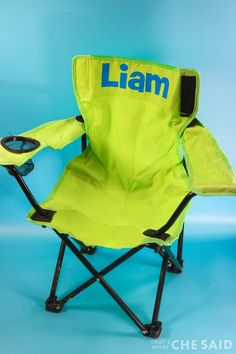 Custom Personalized Camp Chair Fold Up Chairs, Outdoor Folding Chairs, Folding Camping Chairs, Camping With Kids, Van Camping, Camping Furniture, Furniture Ideas, Cricut Vinyl, Cricut Craft