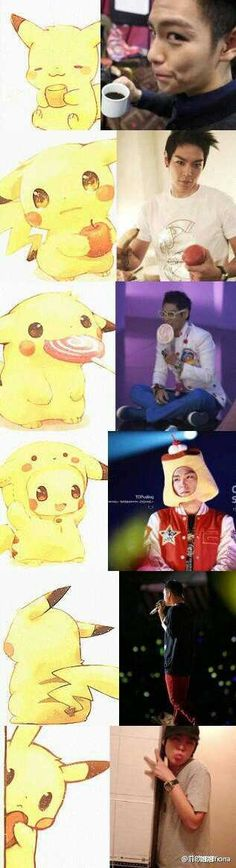 Pikachu and TOP .. This is the CUTEST THING EVER!!!