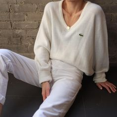 SOLD Vintage 60s LaCoste unisex ivory soft orlon acrylic waffle knit v-neck, best fits xs-l. DM or comment for details. Excellent vintage…