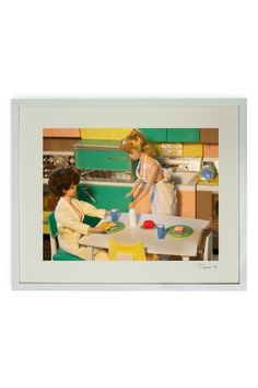 Hand-Signed Girls in the Kitchen Framed Print by Barbie and Ken