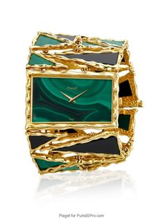 Piaget cuff watch powered by caliber 9P in malachite and onyx.