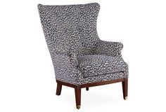 Wingback Chair In Geometric Fabric Upholstery
