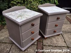 Bedside Cabinets in Annie Sloan French Linen Chalk Paint with 1960's Map Decoupage