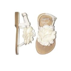 Infant Girl Patent Thong Sandals with Satin Puff Flower by Stepping... ($13) ❤ liked on Polyvore featuring baby and shoes