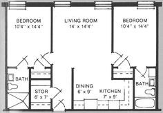 Exceptional Small House Plans Under 500 Sq Ft #9 2 Bedroom Floor Plans For 700 Sq Ft. House