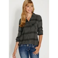 maurices Soft Button Down Shirt In Black And Gray Plaid ($29) ❤ liked on Polyvore featuring tops, grey, long button down shirt, button up shirts, plaid shirt, pocket shirt and plaid button up shirts