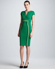 Dondi Zip-Front Jersey Dress, Green