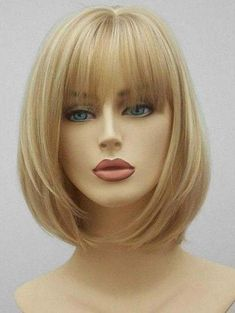 Ladystar Lace Front Wigs See-through Bang Short Straight Synthetic Hair Blonde Bob Wig, Blonde Bobs, Blonde Bob With Fringe, Choppy Bob Hairstyles, Haircuts With Bangs, Medium Hair Styles, Curly Hair Styles, Medium Bob With Bangs, Medium Length Bobs