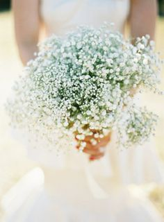 Babybreath bouquet, simple, use as a floral arrangement or for the bridesmaids Baby's Breath Bridal Bouquet, Lace Bouquet, Floral Wedding, Wedding Bouquets, Wedding Flowers, Bridesmaid Bouquet, Bridesmaids, Lace Wedding, Wedding Dresses