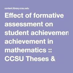 thesis on academic achievement in mathematics Achievement in mathematics, there is a lack of research on school slps' perspectives on the impact of their service on academic achievement, especially in relation to mathematics the.