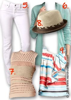 coral and light aqua outfit
