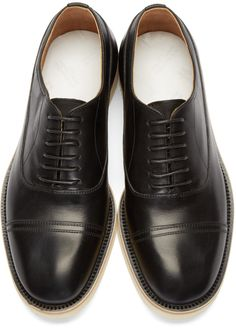 Maison Margiela Black Leather Blind Brogues