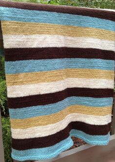 Authentic Knitting Board Striped Blanket #knit #pattern