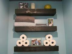 Shelves behind toilet