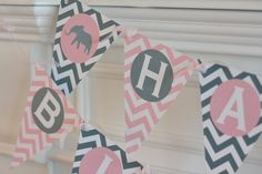Happy Birthday Pennant Flag Pink & Grey Chevron Elephant 1st Year Theme Banner - Ask About Our Party Pack Specials on Etsy, $26.00