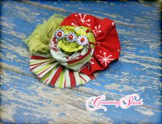 Lime Green Red Ivory Christmas Headband Holiday by CrowningPetals, $13.50
