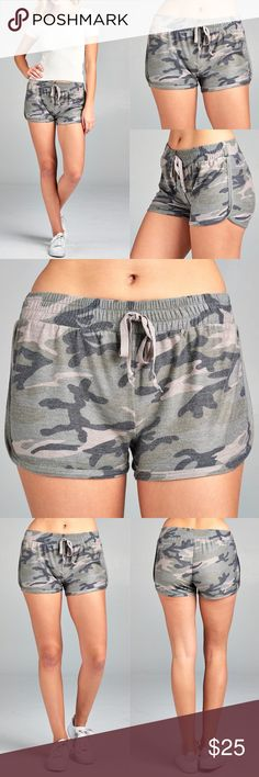 Camo Shorts - OLIVE Drawstring French Terry shorts.  63% POLYESTER 34% RAYON 3% SPANDEX  Fits true to size.  S FITS 2/4, M 6/8, L 10/12  NO TRADE, PRICE FIRM Bellanblue Shorts