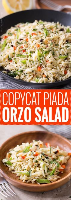 Copycat Piada Orzo Salad | This orzo salad is a copycat of the one sold at Piada Italian Street Food... it's crunchy, a little sweet, a little savory, and always a hit at parties! | http://thechunkychef.com
