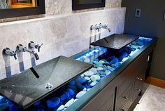 bathroom vanity, rocks?  neat.