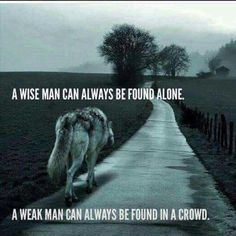 Wolf Quotes - A wise man can always be found alone. A weak man can always be found in a crowd. Motivacional Quotes, Great Quotes, Inspirational Quotes, Quotes Images, Wise Man Quotes, Dumb Quotes, Sad Sayings, Yoda Quotes, Loyalty Quotes
