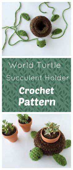 Free crochet Pattern- World Turtle Succulent Holder