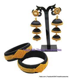 Yaalz Partywear Bangles with Triple layer Jumka Combo in Black Colors