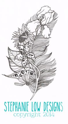 """Charlotte""; Feather Tattoo  https://www.etsy.com/shop/SlowDesigns"