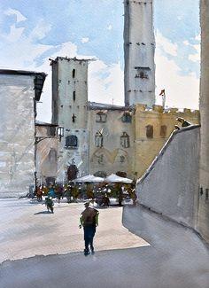 San Gimignano - Watercolor sketch by Emmanuele Cammarano