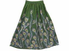 Amazon.com: Dcrapechic Skirt Green Gold Peacock Print Allover Beaded Beach Skirt: Clothing