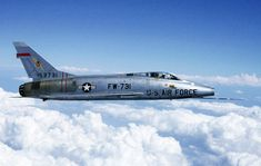 Super Sabre--This fighter was the first of the Century Series of USAF jet fighters, it was the first USAF fighter capable of supersonic speed in level flight. Us Fighter Jets, Fighter Aircraft, Military Jets, Military Aircraft, Military Weapons, Sabre Jet, Close Air Support, American Fighter, Supermarine Spitfire