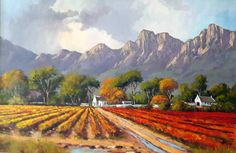 Willie Strydom - Cape Vineyard x Abstract Landscape Painting, Landscape Paintings, Landscapes, Congo River, Bass Fishing Shirts, New Puzzle, Beautiful Paintings, Art Studios, South Africa