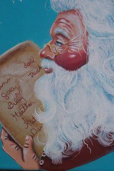 Original Santa Painting on Canvas Folk Art by Creativelyjuiced, $21.00