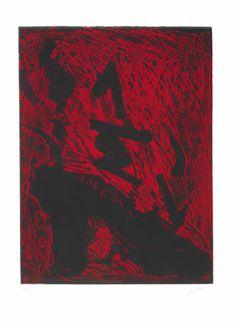 """Antoni Tàpies Grabado al Aguafuerte sobre Terciopelo Rojo """"Carrer de Wagner""""  1988  76 x 56 cm  Tirada de 45 ejemplares  Firmado y numerado a mano  Galfetti nº 1229  Precio: Consultar Web Web: www.grabados-chillida.com Más información y consultas: grabados-chillida@grabados-chillida.com"""
