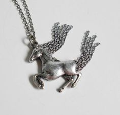 Horse Necklace Flowing Mane and Tail Silver by PrettyShinyThings4U
