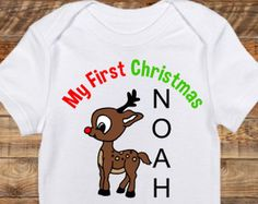 Baby's First Christmas Rudolph- Personalized Holiday Outfit- Customized Christmas Shirt- Newborn Infant Bodysuit- Red nosed reindeer